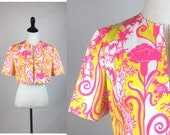 Yellow and Pink Floral Bolero, Vintage Cropped Jacket - Bright Fluorescent Neon Colors with White - Flowers Leaves Vines - Short Sleeves