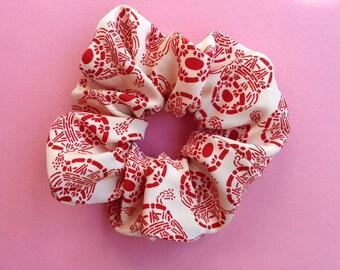 Japanese Kimono fabric Scrunchie - Japanese drum pattern