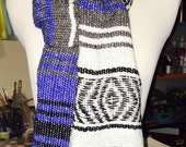 Mexican Serape Scarf Wrap Blanket Scarves Blue Black White Poncho