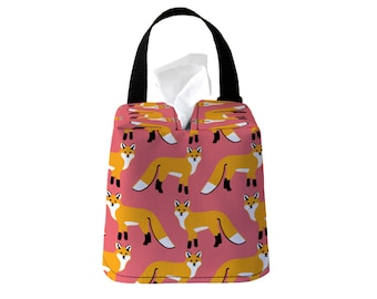 Auto Sneeze Box - Fox - Coral Pink - or PICK YOUR COLOR - Car Accessory Automobile Caddy Tissue Case Animal Woodland
