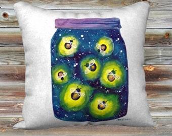 """Fireflies Watercolour Art Throw Pillow Cover Summer Pillow Case 18x18"""""""