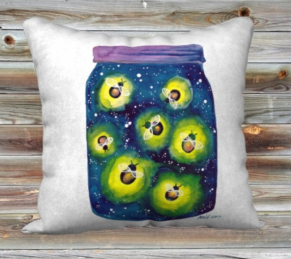 Fireflies Watercolour Art Throw Pillow Cover Summer Pillow Case 18x18""