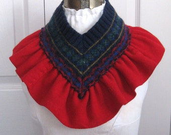 felted neck warmer . rustic wool Collar .  Neck Warmer . ruffled neck warmer . fair isle neck warmer