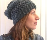 Ombre crochet slouch hat puff stitch shades of teal
