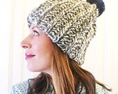 Chunky ribbed beanie with removable pom pom gray and cream multi