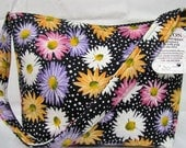 HALF PRICE SALE Medium Cotton Tote One Strap Black Floral