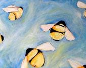 Bee painting art print of original oil painting April Bees 8x10 bumblebee bee decor bee happy wall art