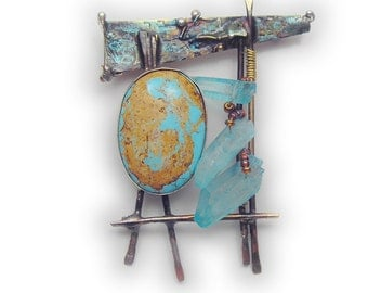 Matrix Turquoise cab with crystals pin brooch Sterling Married Metals    by Cathleen McLain McLainJewelry