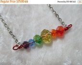 ON SALE RAINBOW Bar Crystal Necklace - Roygbp - for One necklace
