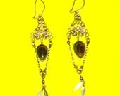 Vintage 1970s Silver and Blue Scrolled Kuchi Chandelier Dangle Drop Earrings