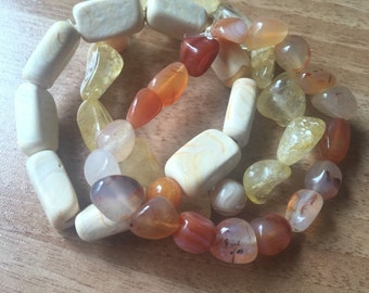 Handmade stack of 3 stretch bracelets with Agate, Topaz & Citrine