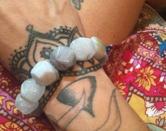 Chunky Blue Lace Agate Stretch Bracelet