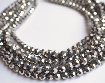 Ariel - Silver Glass Bridesmaid Statement Necklace