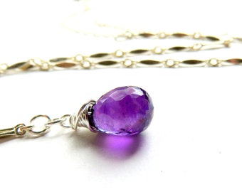 Amethyst Teardrop Necklace - February Birthstone Necklace - Sterling Silver Chain and Purple Amethyst