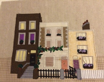 Neighborhood Fabric Appliqué Wall Art