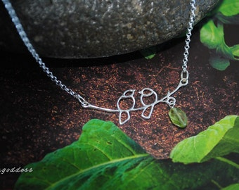 LOVEBIRDS all sterling silver two birds on branch faceted peridot length and clasp choice necklace by srgoddess