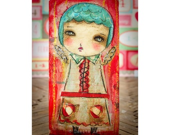 Valentine Cupid #2 - An original Valentine's Day Cupid angel girl, it's a paper collage painting created by Danita Art