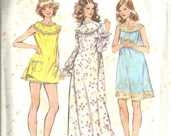 Simplicity 5030 Misses Baby Doll Pajamas Nightgown 70s Vintage Sewing Pattern Size XLarge Bust 42 -44