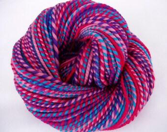 Handspun merino yarn, bulky yarn, chunky yarn, pink merino yarn, pink yarn, purple yarn, pink, teal yarn, dolls hair, SHANTHI, 4oz, 130yds