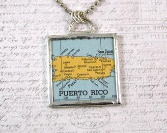 Puerto Rico Map Pendant Necklace