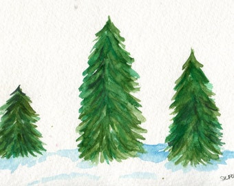 3 Christmas Trees Painting, 4x 6 Original Watercolor Painting Original, Holiday Christmas Decor