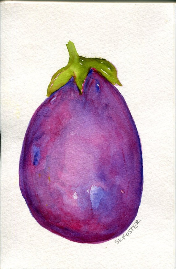 Eggplant Watercolor Painting Purple Kitchen Food Art Purple Eggplant Kitchen Decor Original Watercolor 4 X 6 Aubergine Minimalist