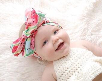 Headwrap, Girls Headwrap, Baby Headwrap, Head Wrap, Big Bow Headwrap, Photo Prop, Pink & Aqua Watermelons  - WATERMELONS
