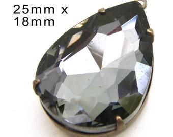 Black Diamond Glass Pendant, Patina Brass Setting, Pear or Teardrop, 25mm x 18mm, 25x18, Glass Bead, Gray, Rhinestone Jewel, Glass Gem
