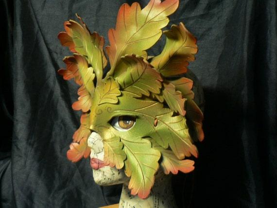 Autumn Oak Greenman,  oak leaf,  celebration costume leather mask