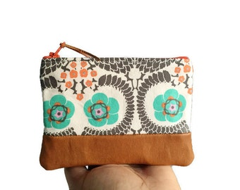 French Twist Small Leather Coin Purse, Zipper Coin Pouch, Change Purse, Floral Change Wallet, Zipper Wallet, Coin Wallet, 144 Collection