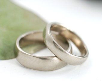 Simplicity Wedding Rings - 14k Palladium White Gold Wedding Band Set - 4mm and 6mm - made to order wedding rings in recycled metal