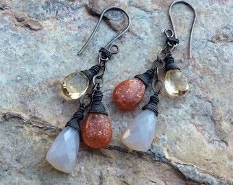 Multi GEMSTONE Earrings, Sunstone, Citrine, Chalcedony jewelry, sterling silver, handmade artisan earrings, AngryHairJewelry