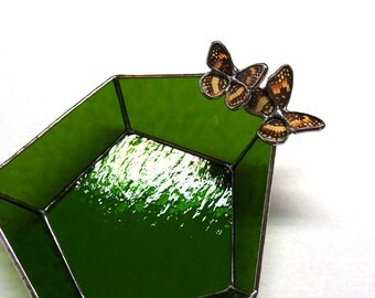 Ring Dish in Moss Green Stained Glass with Real Butterflies - Geometric Glass Trinket Dish - Ring Bearer Pillow Alternative