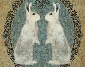 Double White Rabbit Bunny. Original Digital Art Photograph. Wall Art. Wall Decor. Giclee Print. DOUBLE RABBIT by Mikel Robinson