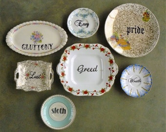 Seven Deadly Sins hand painted  vintage plate art assemblage with hangers recycled sinners display SALE