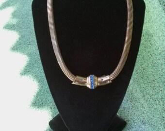Vintage 1940s Necklace Earrings Slider Omega Serpentine Brass 40s Coro 20160715J225