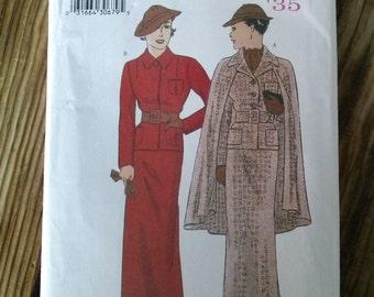 1930s Pattern Suit Cape Tailored Retro Reissue Butterick 6329 Sz Sm