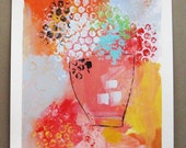 Original acrylic painting on paper, hydrangea, flowers, still life