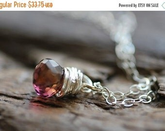ON SALE Pink Tourmaline Necklace . Sterling Silver Small Wire-wrapped Petite Gemstone Shaded Plum Pink Jewelry Gift