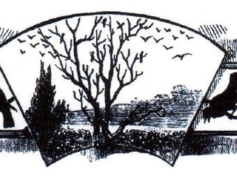 Crow Border Red Rubber Stamp-Original design 00638, halloween rubber stamp, crow rubber stamp