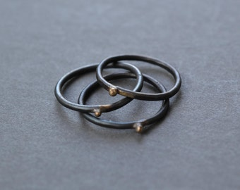 Steel & Gold Stacking Ring- blackened steel and recycled gold
