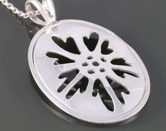 Sterling Silver Oval Pendant. Saw Pierced. Abstract Flower Pattern. 16 Inch, 18 Inch, or 20 Inch Necklace. f16p001