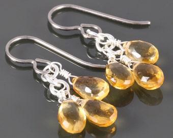 Small Citrine Cluster Earrings. 3 Stones. Titanium Ear Wires. Genuine Gemstones. November Birthstone. f16e014