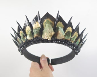 Raw Chrysoprase on Black Blade Crystal Crown - by Loschy Designs