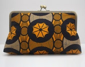 Clutch bag, Kiss Lock Purse, Funky bag, Gift for Fashionista, Orange and Blue Supersnap Clutch, Ethnic print clutch, African print bag,