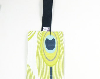 Luggage Tag / Bag Tags / Cute Luggage Tags - Lime Peacock