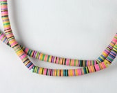 6 mm COLORFUL Vulcanic Phono Record Disc Heishi Beads (STRAND) African Trade, Pink, Green, Yellow, Blue, Black