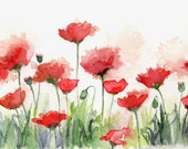 Watercolor and Ink Poppy Field Original Painting, Poppy Art, Red Poppies, Poppy Picture, Poppy Decor