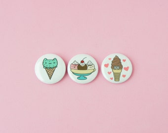 Ice Cream Cats • Set of 3 one inch pinback buttons