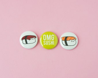 Sushi Cats • Set of 3 one inch pinback buttons